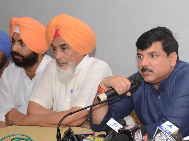 From right: AAP leaders Sanjay Singh, Sucha Singh Chhotepur and Harjot Singh Bains at a press meet in Chandigarh on Tuesday.