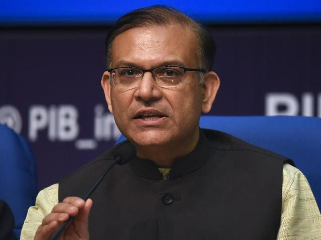 In this file photo, junior finance minister Jayant Sinha can be seen interacting with the media at the National Media Centre in New Delhi.