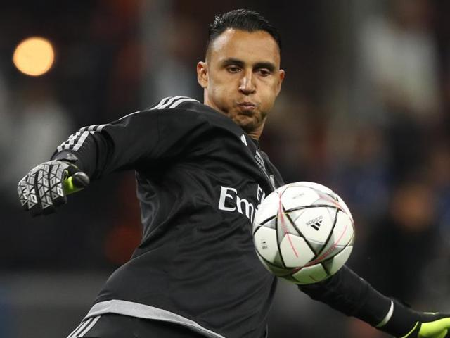 Real Madrid's Keylor Navas in action during the UEFA Champions League final.