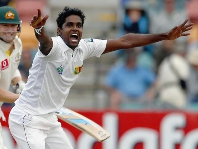 Sri Lanka's Shaminda Eranga during a cricket test match at Bellerive Oval in Hobart.