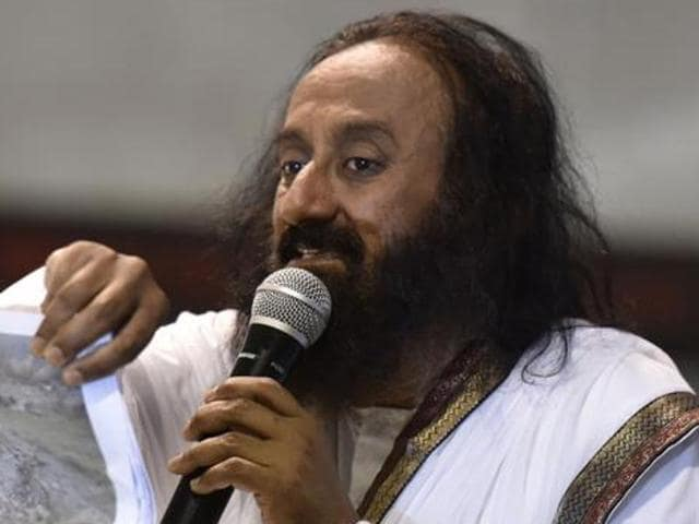 In this file photo, Sri Sri Ravi Shankar can be seen addressing a press conference during the World Culture Festival in New Delhi.