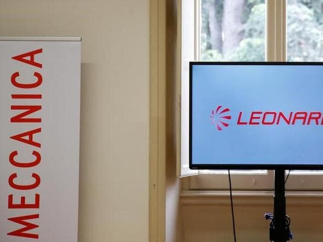 The new Finmeccanica's logo, Leonardo, is seen on a screen during a meeting of shareholders in Rome, Italy, April 24, 2016.