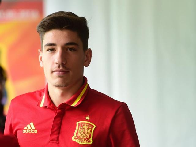Bellerin was included after Real Madrid right back Dani Carvajal (not pictured) sustained a leg muscle injury in Saturday's Champions League final victory over Atletico Madrid.