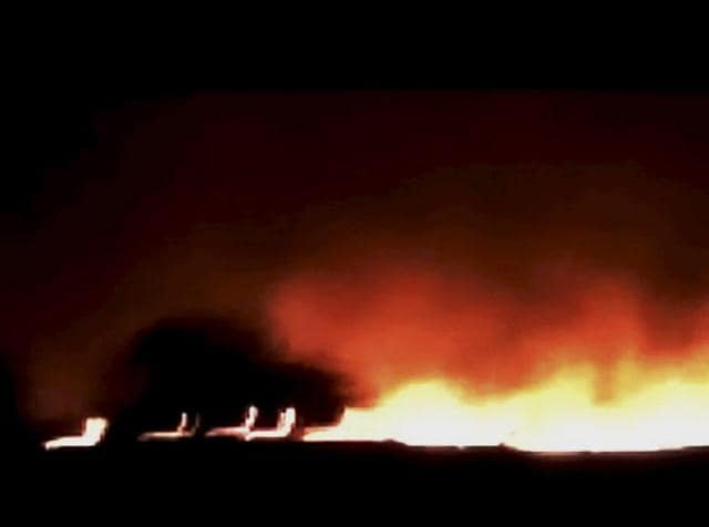 A fire broke out at central ammunition depot in Pulgaon district of Maharashtra on Tuesday.