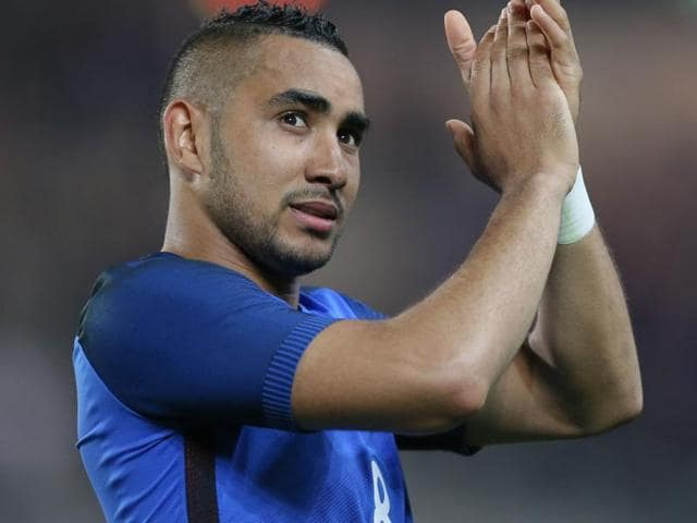 France's Dimitri Payet applauds to supporters after scoring the third goal during a friendly match..