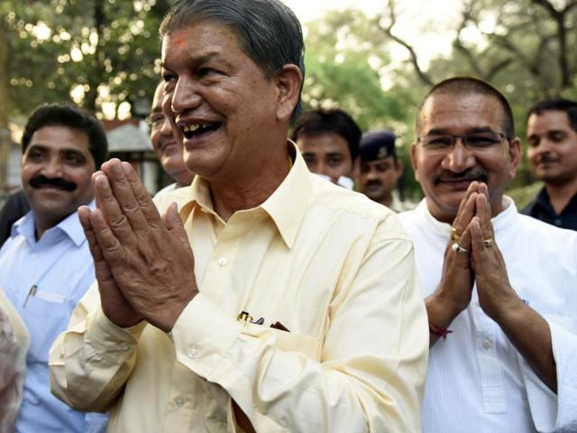 Uttarakhand chief minister Harish Rawat talks to the media after meeting Congress president Sonia Gandhi in New Delhi. The naming of Pradeep Tamta, known to be close to Rawat, had not gone down well with PDF.