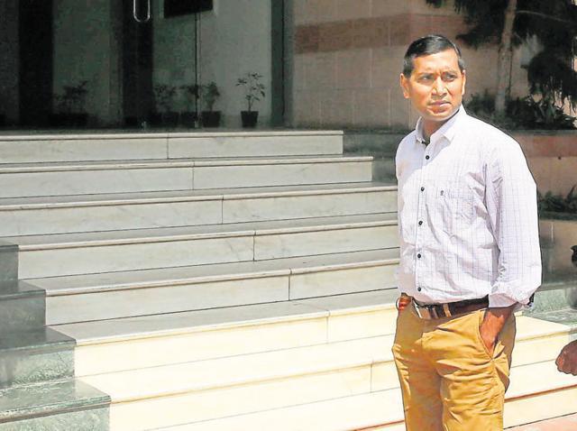 IAS officer Niraj K Pawan outside the Anti-Corruption Bureau office in Jaipur.