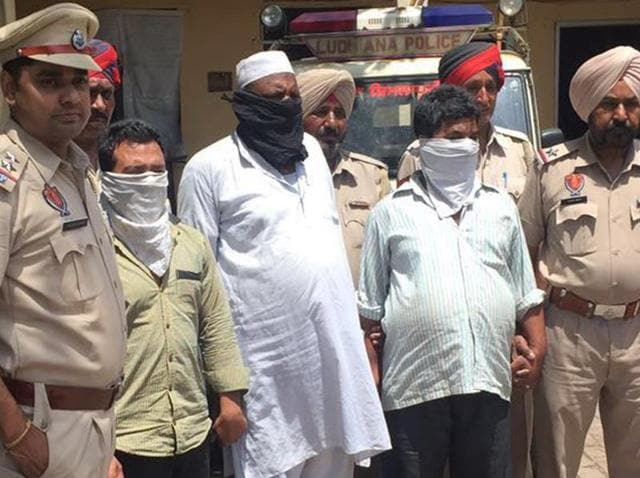 The three accused in police custody on Monday in Ludhiana.