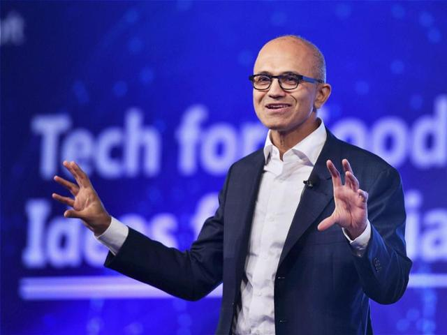 Microsoft CEO Satya Nadella delivering keynote address at the company's 'Tech For Good, Ideas for India' event in New Delhi on Monday.