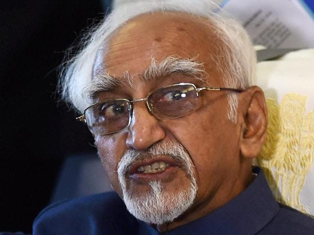 Vice-president M Hamid Ansari interacts with the media on board the Special Aircraft while going to Morocco and Tunisia from New Delhi.