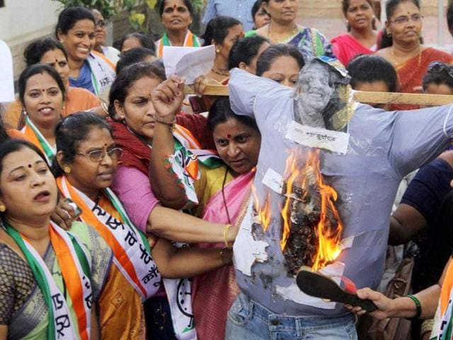 Nationalist Congress Party women activists protest against comedian and founder of All India Bakchod (AIB) Tanmay Bhat for posting a video on Facebook titled Sachin vs Lata Civil War, at NCP Bhavan.