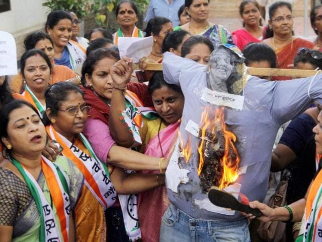 Mai: Nationalist Congress Party women activists protest against comedian and founder of All India Bakchod (AIB) Tanmay Bhat for posting a video on Facebook titled Sachin vs Lata Civil War, at NCP Bhavan, in Mumbai.