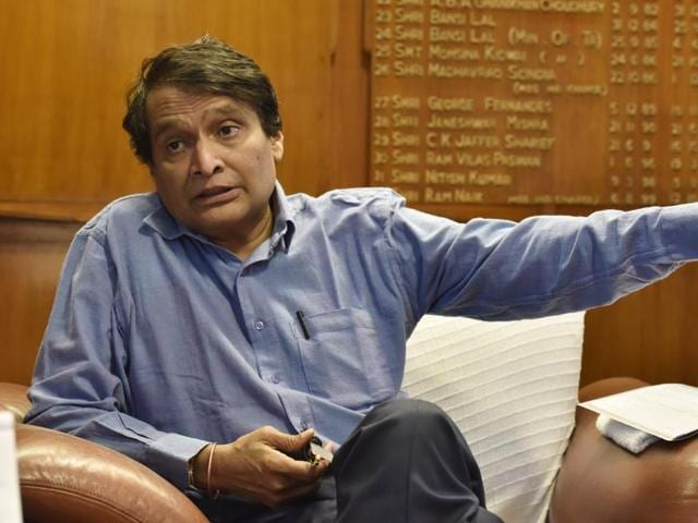 Union railway minister Suresh Prabhu filed his nomination papers for Rajya Sabha biennial election from Andhra Pradesh.