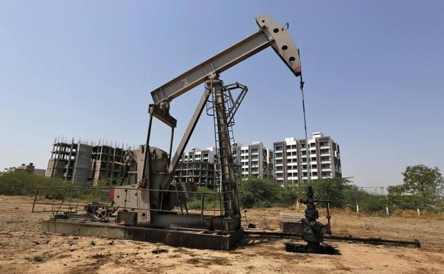 An Oil and Natural Gas Corp's (ONGC) well is pictured in an oil field on the outskirts of Ahmedabad.