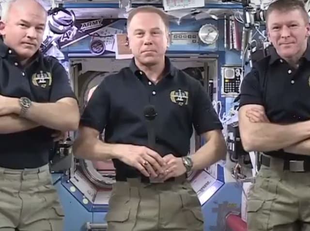 Jeff Willians (L), Tim Kopra (R) and Tim Peake (R) interacting with Facebook founder Mark Zuckerberg through a Facebook Live chat.