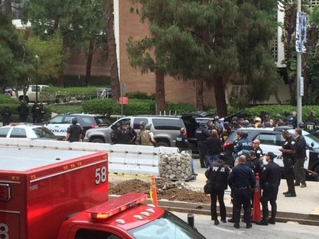 LA police at the University of California's Los Angeles Campus where shooting was reported on Wednesday.