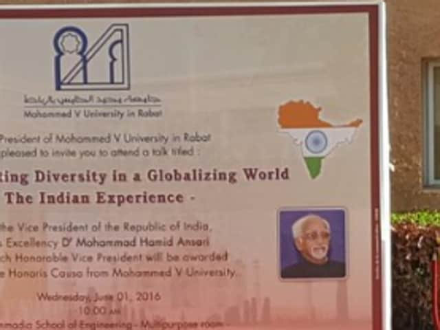 The hoarding was placed at the entrance of the venue where vice-president Hamid Ansari  was scheduled to deliver his lecture.