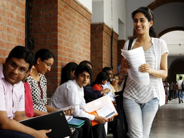 Student wait for their turn for interview to get admission in St Stephen's College, Delhi University.