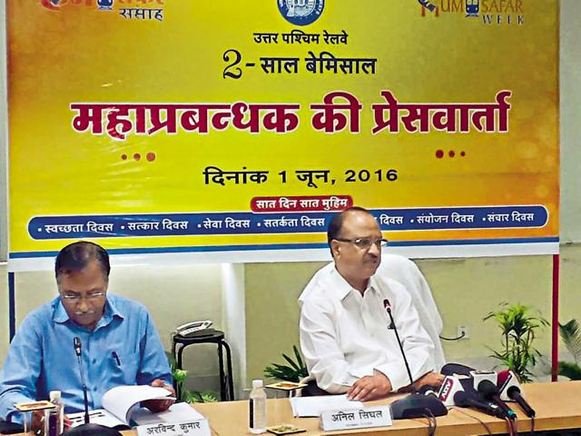North Western Railway general manager Anil Singhal addresses a press conference on Wednesday.