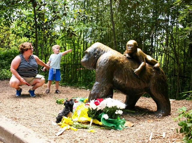 A mother and her child visit a bronze statue of a gorilla outside the Cincinnati Zoo's Gorilla World exhibit, two days after a boy tumbled into its moat and officials were forced to kill Harambe, a Western lowland gorilla, in Cincinnati, Ohio, US.