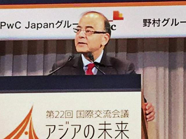 Finance minister Arun Jaitley addresses the conference on 'The Future of Asia' in Tokyo.
