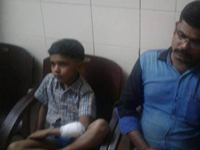 Seven-year-old Karthik was attacked by a group of miscreants failed to find his father at home in Kerala's Kannur.