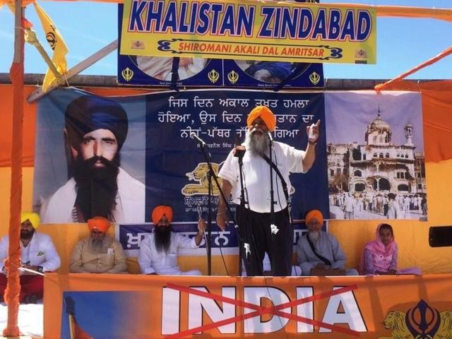 Canadian Sikhs at a pro-Khalistan event.