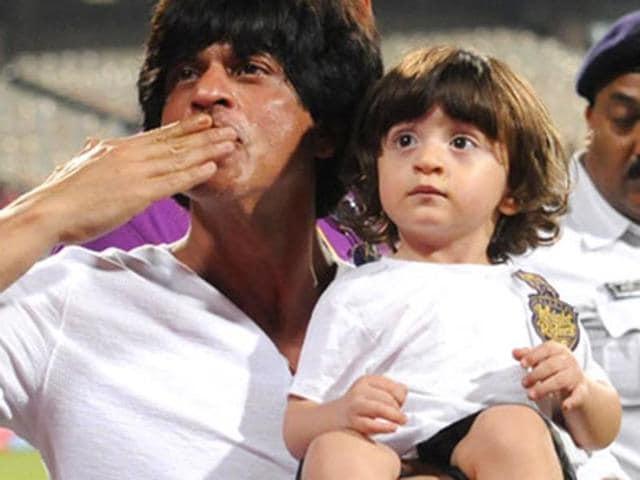 SRK and AbRam at an IPL match.