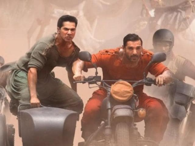 Varun Dhawan and John Abraham in a still from Dishoom.