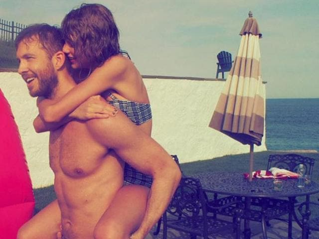 Taylor and Calvin during last year's 4 July celebrations.