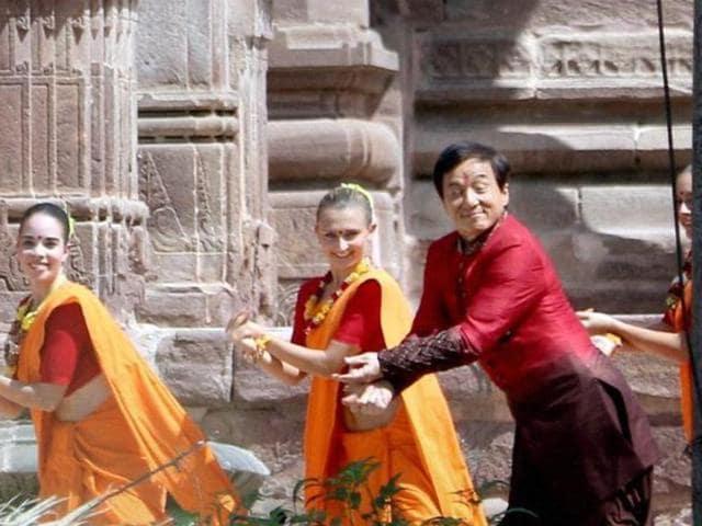 International star Jackie Chan shooting for film Kung Fu Yoga in Jodhpur's Mandore Gardens in Jodhpur.