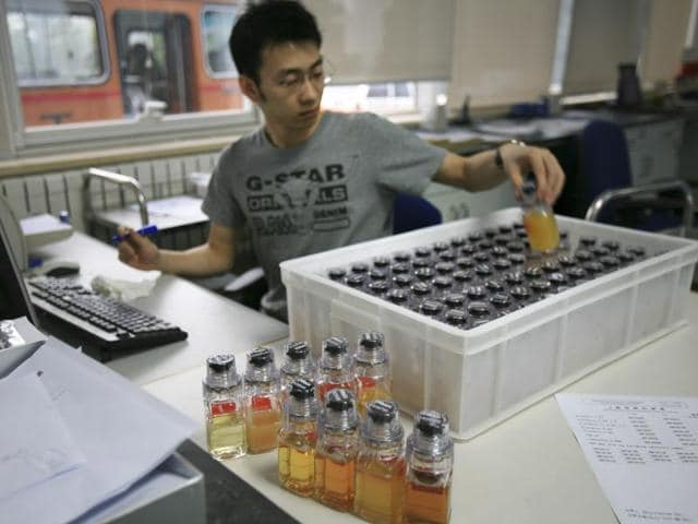 A file photo of urine samples from Chinese athletes are recorded upon arriving at China Anti-Doping Agency.