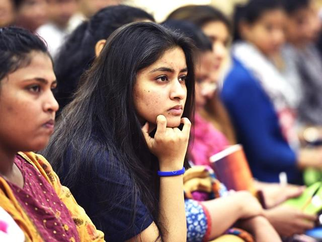 Students and parents during first day open session at Delhi University on June 1, 2016,  in New Delhi, India.