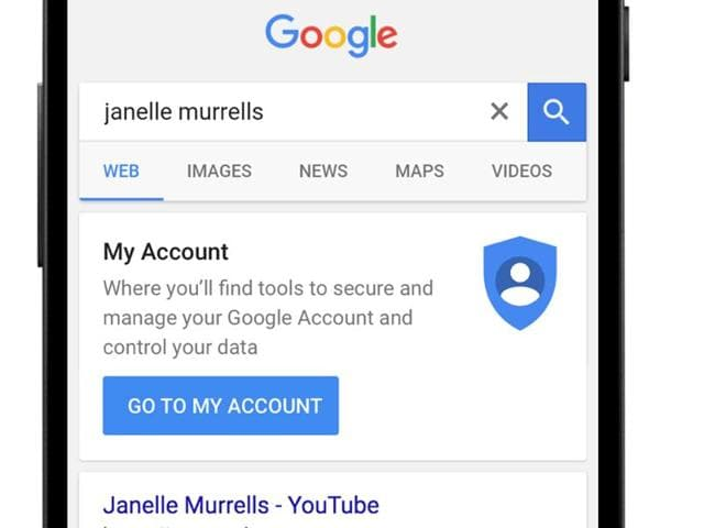 In coming weeks, a shortcut to personal account information will appear at the top of Google's search results whenever logged-in users enter their own names in the query box.