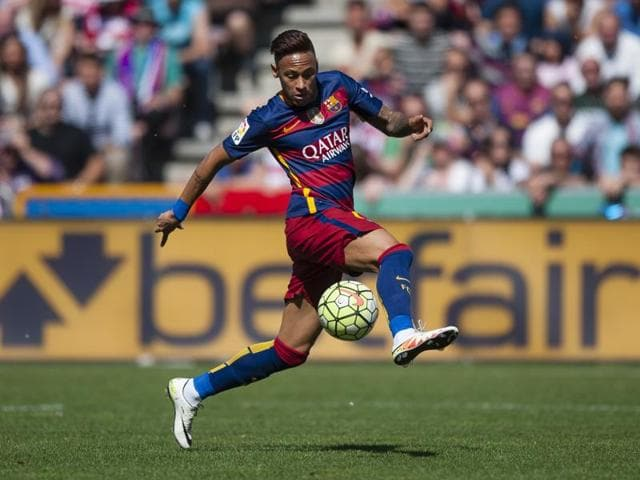 FC Barcelona's Neymar da Silva from Brazil controls the ball during a Spanish La Liga football match between Granada and Barcelona at Los Carmenes stadium in Granada, Spain.