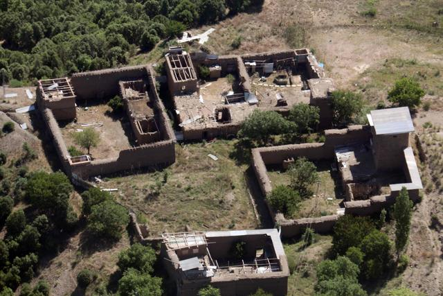 In this photograph taken from a Pakistani army helicopter on May 20, 2016, empty houses whose roofs have been removed by the army during an operation are seen in the South Waziristan tribal district on Pakistan's border with Afghanistan.