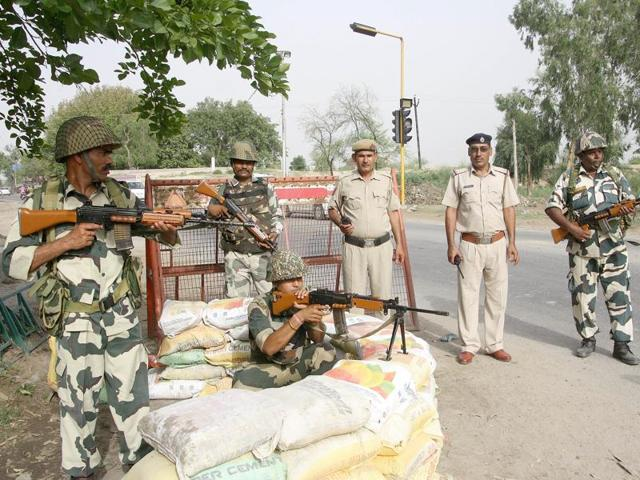 Border Security Force personnel deployed in view of the proposed Jat protest on June 5, in Rohtak on Wednesday.