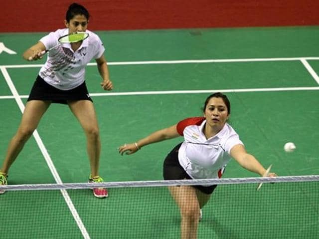 Shuttler Jwala Gutta along with her doubles partner Ashwini Ponnappa in acton.