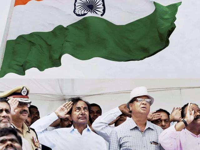 The second tallest tricolour in the country was hoisted in Hyderabad on Thursday to mark the state's second year since its formation. The country's tallest flag pole stands in Ranchi, Jharkhand.