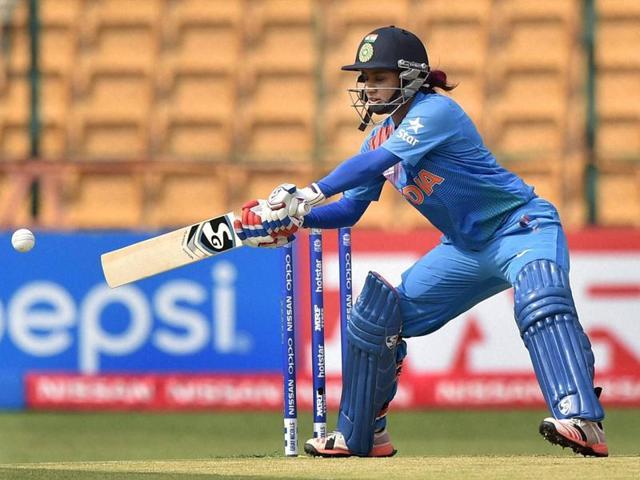 India's Mithali Raj plays a shot during the ICC Women's World T20 match against Bangladesh.