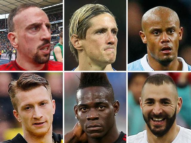 Clockwise, from top left: Franck Ribery, Fernando Torres, Vincent Kompany, Karim Benzema, Mario Balotelli, and Marco Reus.