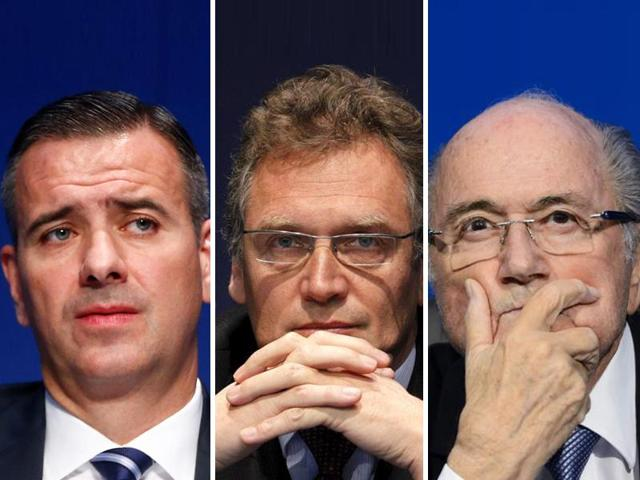 Markus Kattner, left, Jerome Valcke, centre, and Sepp Blatter awarded themselves pay rises and World Cup bonuses totaling $80 million over their last five years in office.