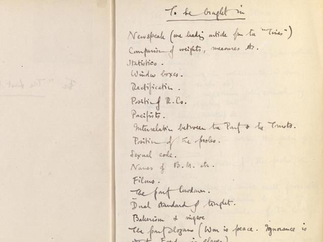 George Orwell's notes for Nineteen Eighty-Four