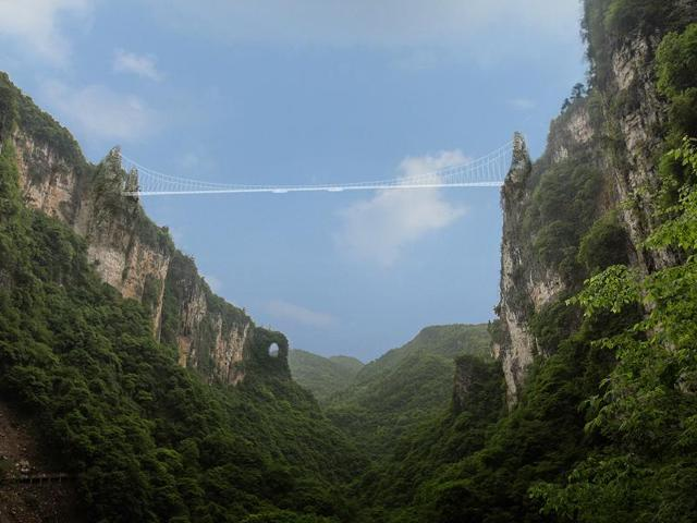 World's Tallest Bridge,Glass Bottom Bridge,Zhangjiajie Grand Canyon Glass Bridge