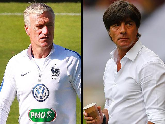 Combination image of France coach Didier Deschamps and his German counterpart Joachim Loew.