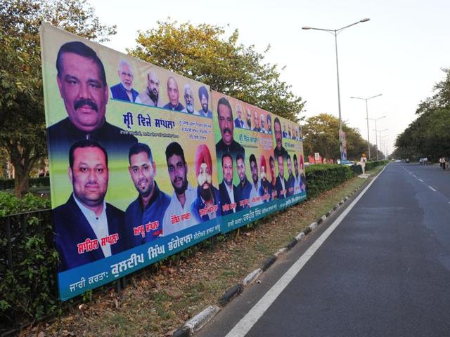 No notice has been issued yet to the Punjab BJP for putting up these illegal hoardings and banners in Sector 37.