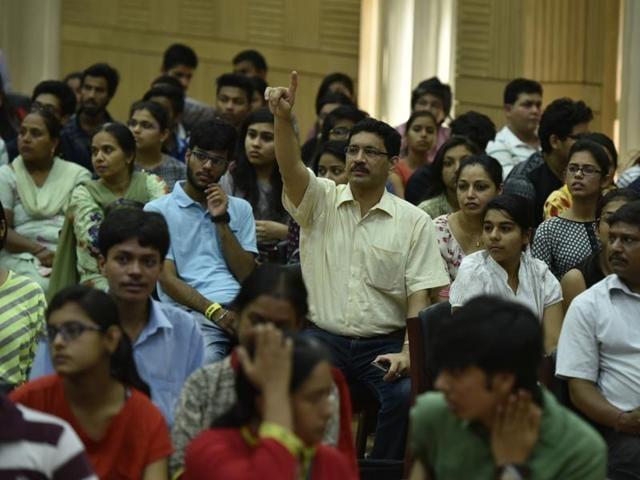 Delhi University Open Days in progress at the North Campus in New Delhi on Thursday.
