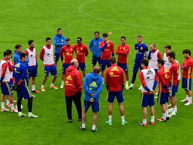 Spain's national football team attend a training session in Schruns, in preparation for the upcoming Euro 2016.(AFP File Photo)