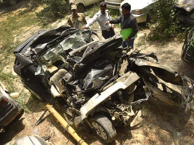 Wreckage of the Ford Ecosport car in which six people were killed on GT Karnal Road in New Delhi.