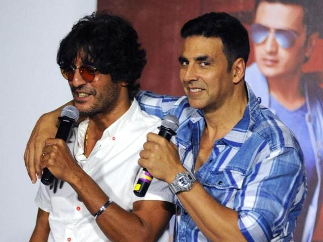 Chunky Pandey and Akshay Kumar attend a press conference for Housefull 3 in Mumbai on Thursday.